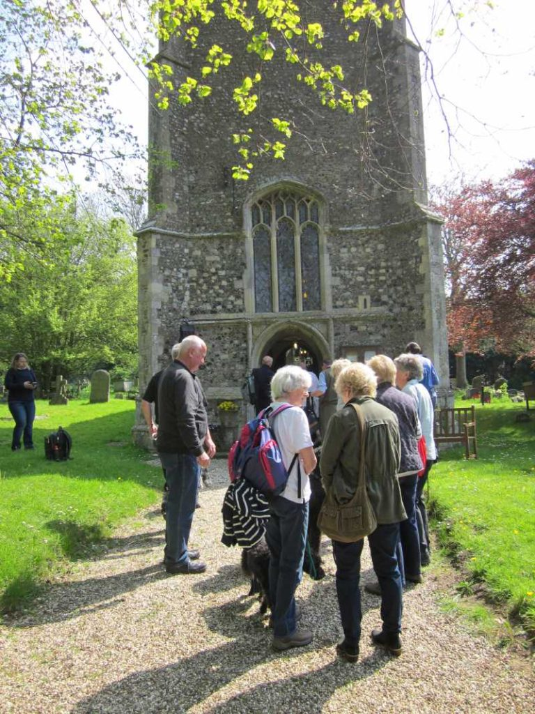 Group of walkers outside Knodishall church