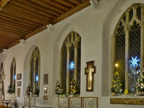 South wall of church, window decorations