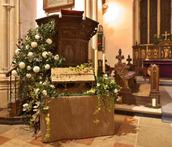 Pulpit and manger flowers